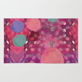 """""""Abstract polka dots in pink and pastel colors"""" Rug"""