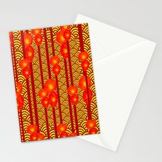 Red Poppies Stripes Yellow Asian  Pattern Art Design Stationery Cards