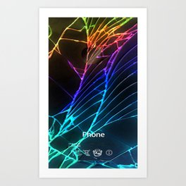 Rainbow Broken Damaged Cracked out Black handphone iPhone Art Print