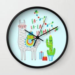fa la la llama christmas gift idea alpaca cactus Wall Clock