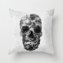 Town Skull B&W Throw Pillow