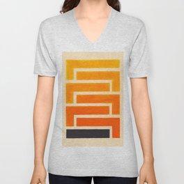 Orange & Black Geometric Pattern Unisex V-Neck