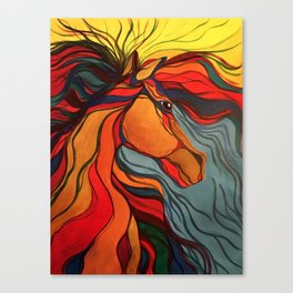 Wild Horse Breaking Free Southwestern Style Canvas Print