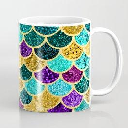 Glitter Purple, Aqua and Gold Mermaid Scales Pattern Coffee Mug