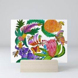 Australian native flowers wreath Mini Art Print