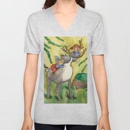 Elves and Reindeer Unisex V-Neck