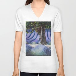 Lavender Field with Apple Tree Unisex V-Neck