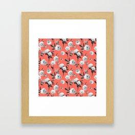 Peonies Mono Coral Framed Art Print