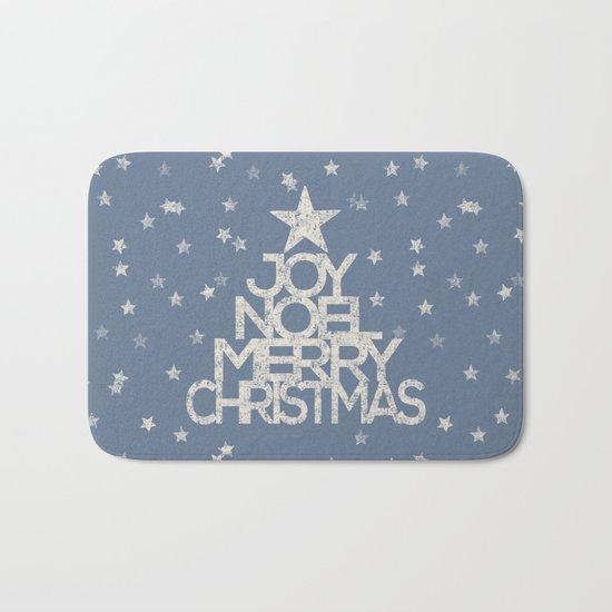 Joy-Noel-Merry Christmas- Typography and stars on fresh wintry grey Bath Mat
