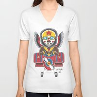 airplane V-neck T-shirts featuring Airplane by @VEIGATATTOOER