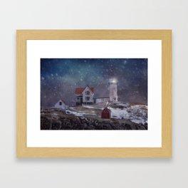 Winter Nights at Nubble Light - Maine Lighthouse Series Framed Art Print
