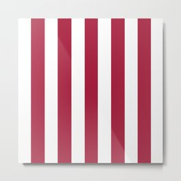 Deep carmine red - solid color - white vertical lines pattern Metal Print