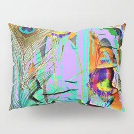 LILAC SHABBY CHIC PEELING PEACOCK WALLPAPER DESIGN FAUX Pillow Sham
