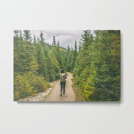 Hiking trail woman in the woods Metal Print