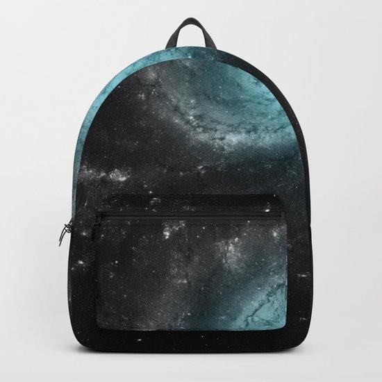 Aqua Blue Gray Pinwheel Galaxy Backpack