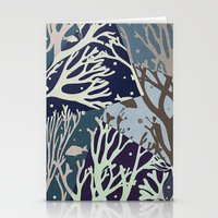 under the sea Stationery Cards featuring Under the Sea - Abstract by Paula Belle Flores