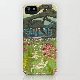 Iris Garden in Horikiri Hiroshi Yoshida Modern Japanese Woodblock Print iPhone Case
