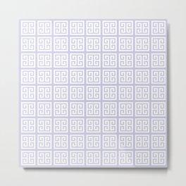 Periwinkle Purple Greek Key Pattern Metal Print