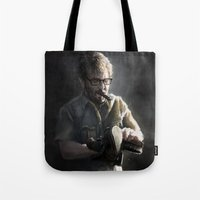 marc johns Tote Bags featuring Marc Maron by Pavel Sokov