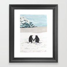 Penguins in love Framed Art Print