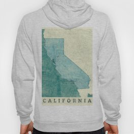 California State Map Blue Vintage Hoody