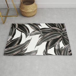 Tropical Leaves with Rose Gold Glitter #1 #shiny #tropical #decor #art #society6 Rug