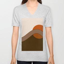 Cocoa Sundown Stripes Unisex V-Neck