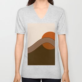 Cocoa Sundown Stripes Unisex V-Neck