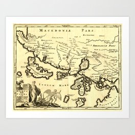 Antique Map of Macedonia Greece Corfu Ogygia Scheria Ithaca Art Print