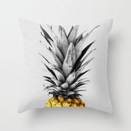 Gray and golden pineapple Throw Pillow