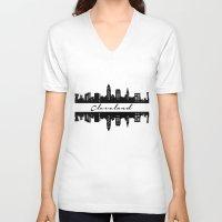 cleveland V-neck T-shirts featuring Cleveland Skyline by Madison Asher