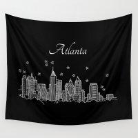 atlanta Wall Tapestries featuring Atlanta, Georgia City Skyline  by Architette Studios