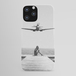 Steady As She Goes; aircraft coming in for an island landing black and white photography- photographs iPhone Case