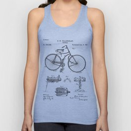Bicycle Patent - Cyclling Art - Black And White Unisex Tank Top