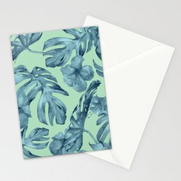 Tropical Leaves and Flowers Luxe Ocean Teal Blue Pastel Green Stationery Cards
