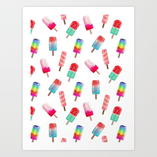 Watercolored Popsicles Art Print