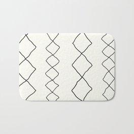 Moroccan Diamond Stripe in Black and White Bath Mat