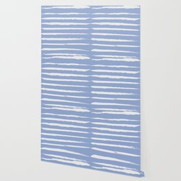 Irregular Hand Painted Stripes Light Blue Wallpaper