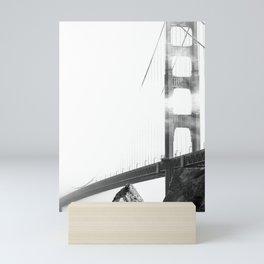 Foggy Golden Gate Bridge Black and White Photograph Mini Art Print