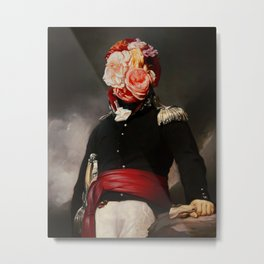 Floral Soldier Surreal Portrait Collage Metal Print