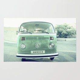Vintage Wander van. Summer dreams. Green Rug