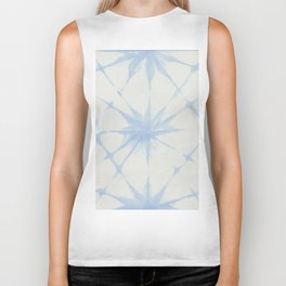 Shibori Starburst Sky Blue on Lunar Gray Biker Tank