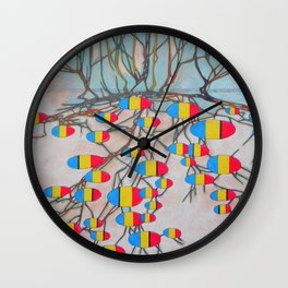 withered tree / potatoes Wall Clock