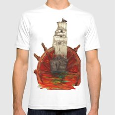 Steering into a new setting Mens Fitted Tee MEDIUM White