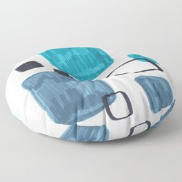 Mid Century Modern Abstract Minimalist Art Colorful Shapes Vintage Retro Style Turquoise Blue Grey Floor Pillow
