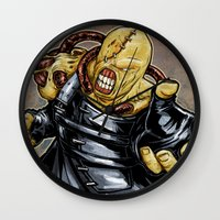 resident evil Wall Clocks featuring Nemesis: Resident Evil by Patrick Scullin