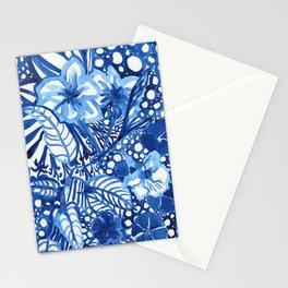 Blue summer floral pattern Stationery Cards
