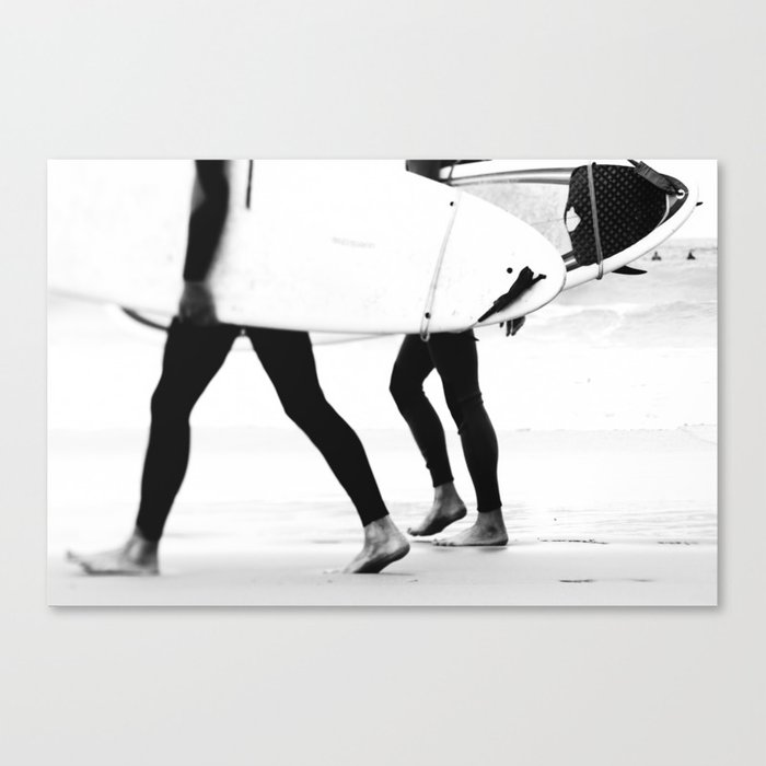 Catch a Wave Print - abstract black white surf board photography by Ingrid Beddoes Leinwanddruck