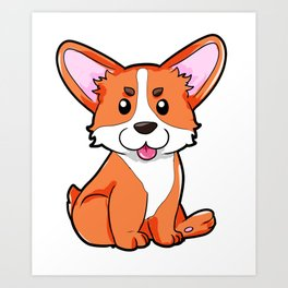 Corgi Dog Dogs Puppy Puppies Present Cute Art Print