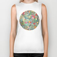 moroccan Biker Tanks featuring Gilt & Glory - Colorful Moroccan Mosaic by micklyn